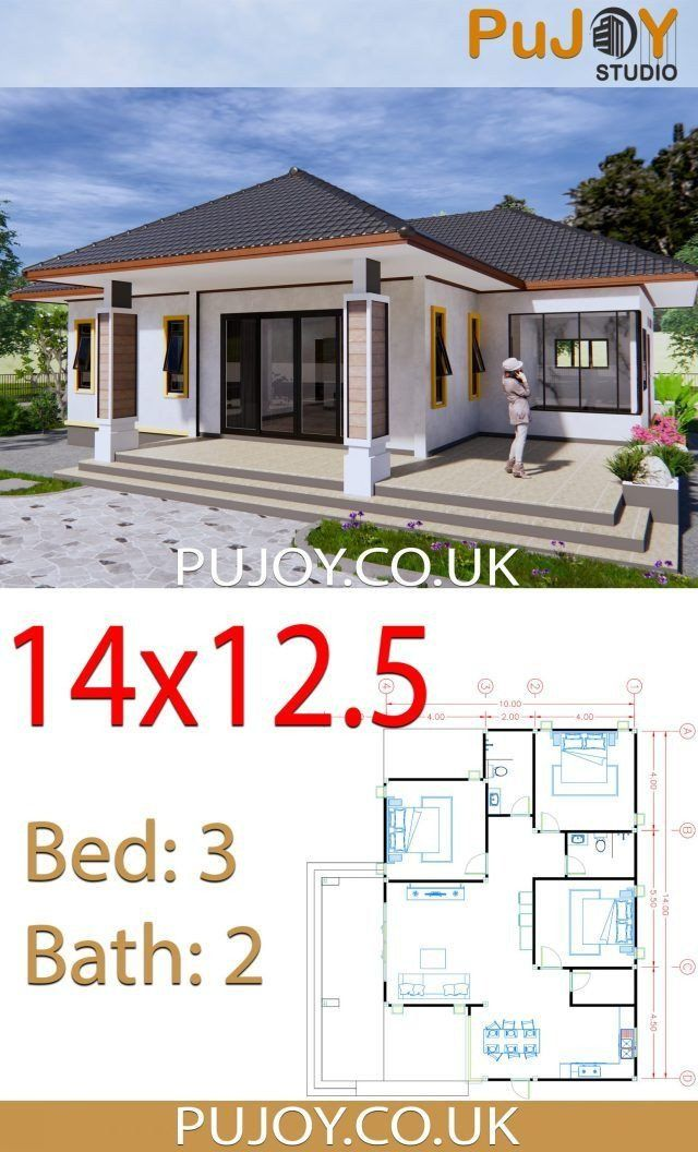 Modern House Design Plans Uk House Plans 14x12 5 With 3 Bedrooms Hip Roof Planos De Casas Sencillas Planos De Casas Medidas Diseno De Casas Sencillas