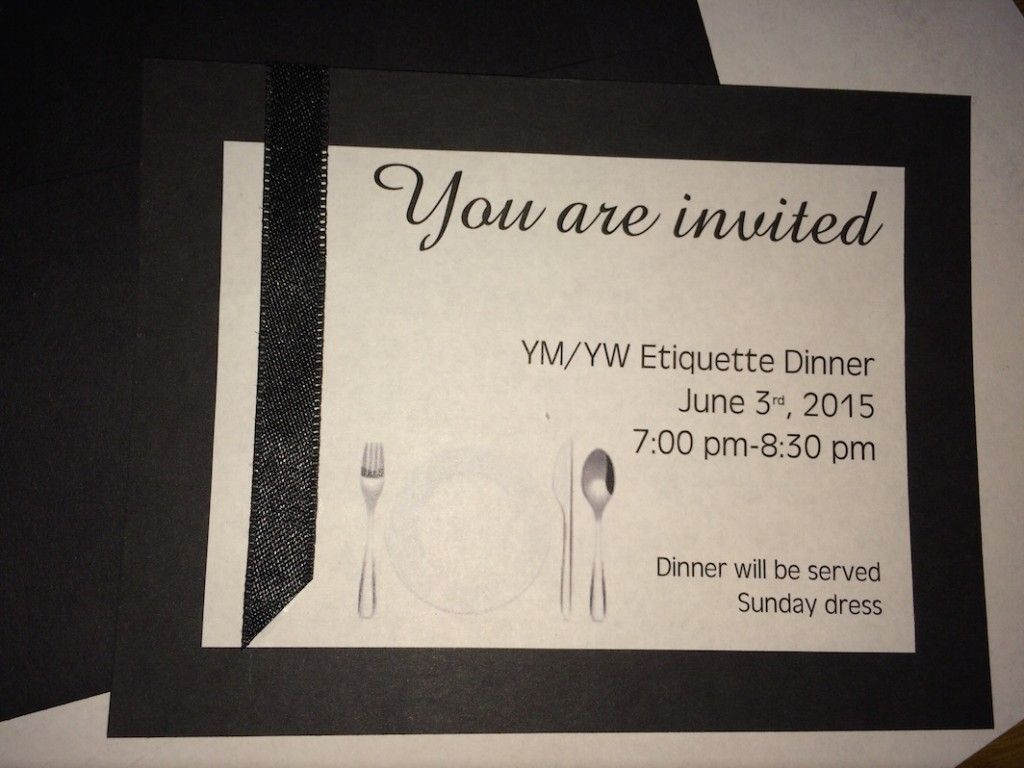 Invitation to Etiquette dinner for Mutual activity LDS YW Mutual