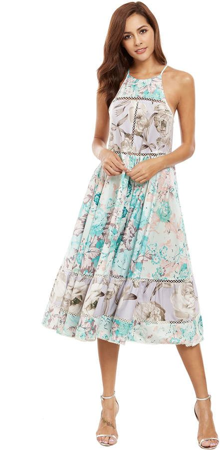Halter Neck Floral Print Hollow Ruffle Hem Dress | vestidos ...