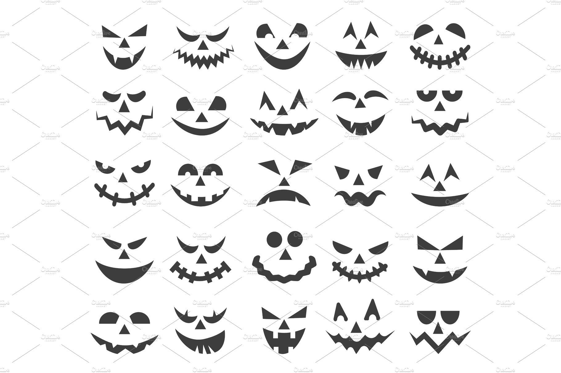 Halloween ghost faces set Ghost faces, Halloween ghosts