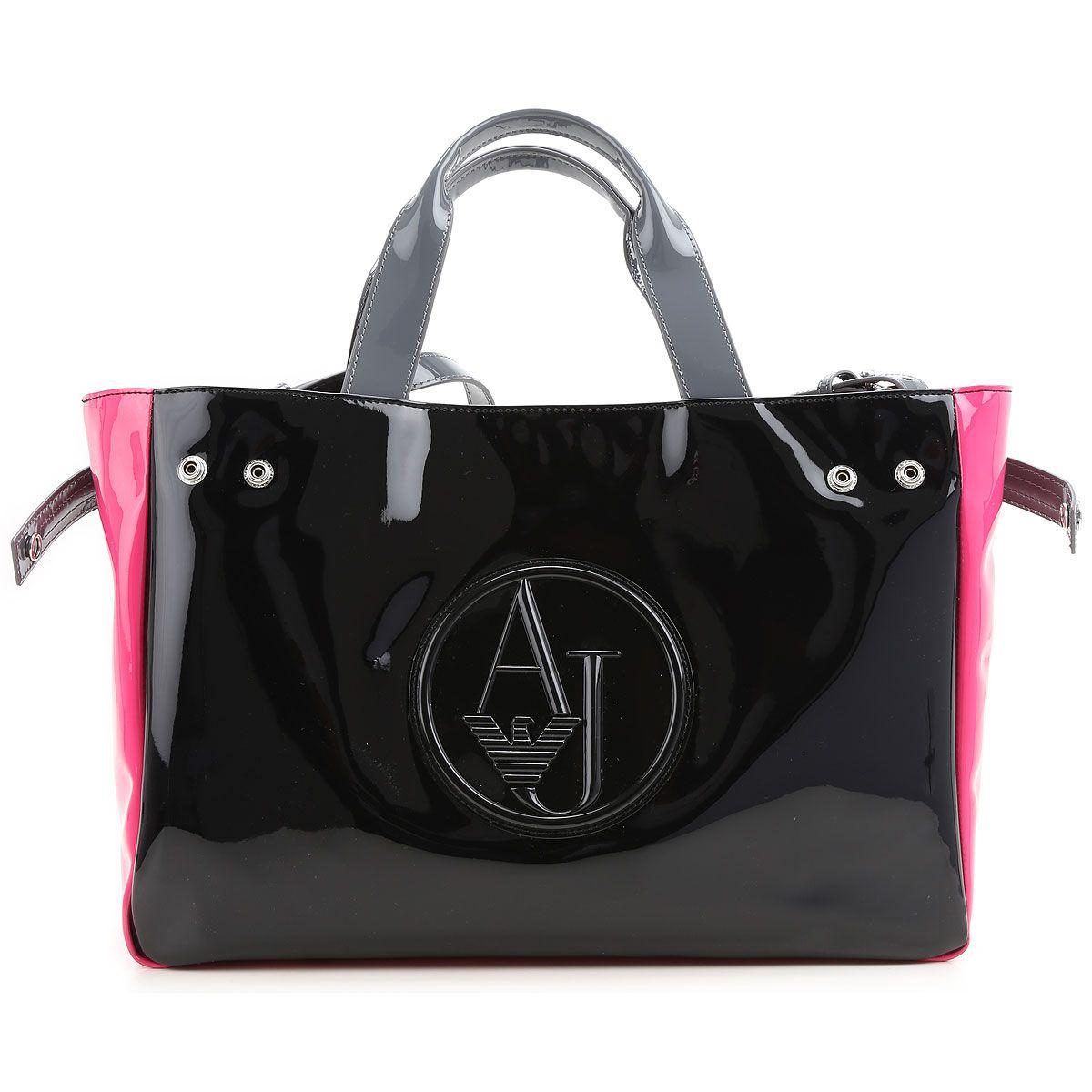 2f29f4656f5 Bolso Armani charol grande combinado negro y rosa