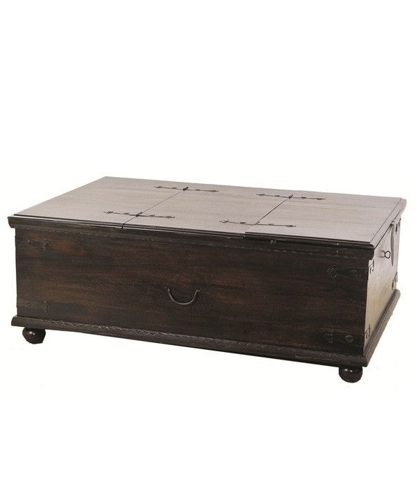 Dark Brown Rustic Treasure Box Coffee Table Coffee Table With Storage Coffee Table Coffee Table Size
