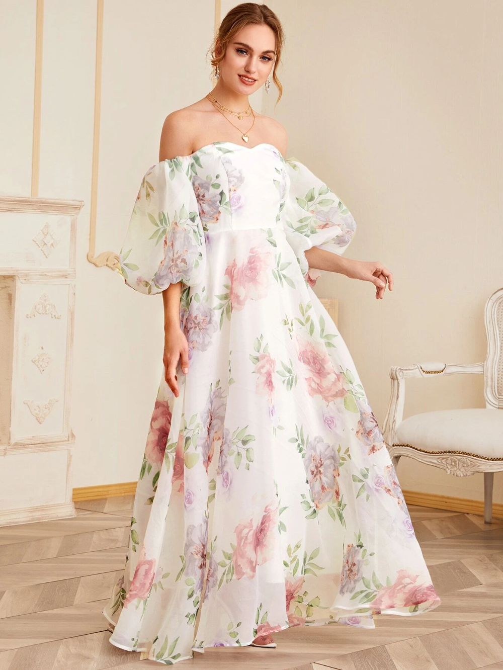 Off Shoulder Bishop Sleeve Floral Organza Maxi Dress Shein Usa Maxi Dress Prom Dresses With Sleeves Dresses [ 1332 x 1000 Pixel ]