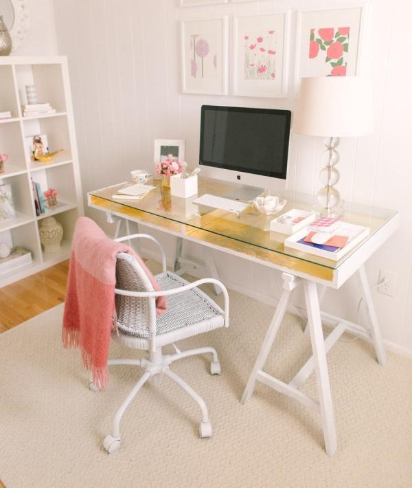 Schreibtisch selber bauen ikea  IKEA Schreibtisch goldblatt weiss glasplatte mädchen zimmer ...