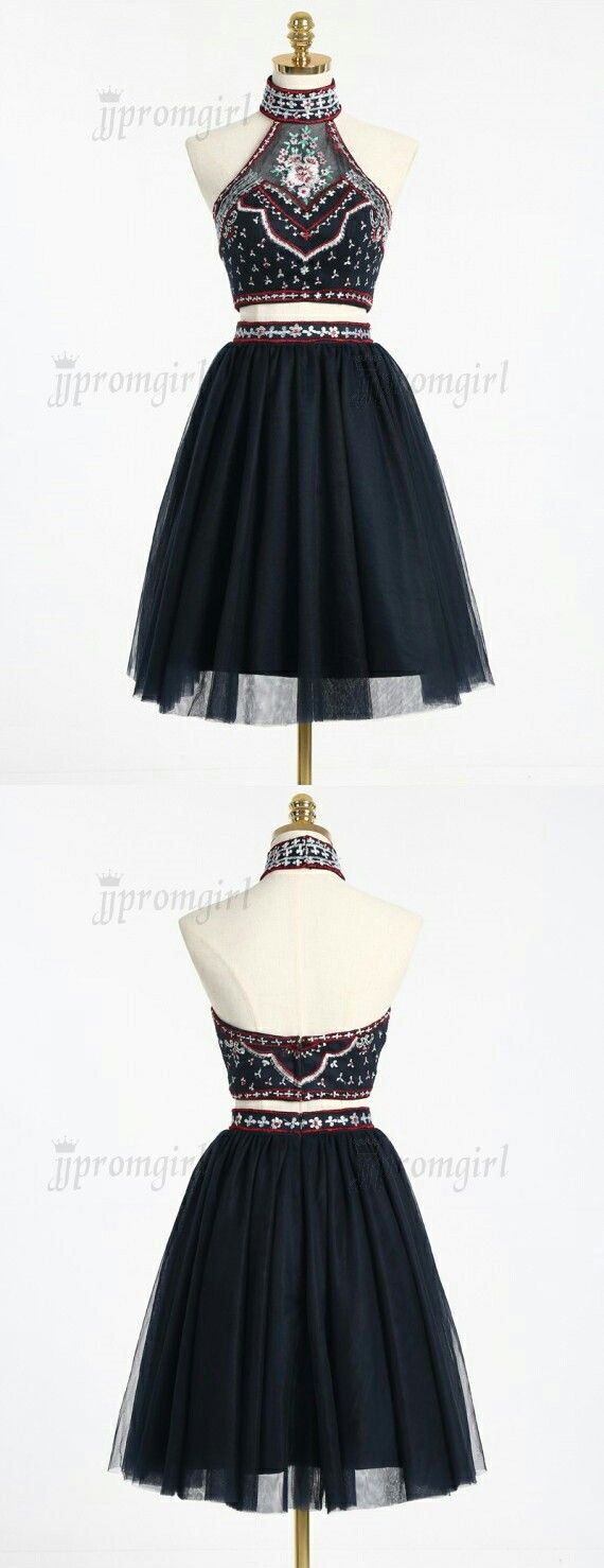 Simple halter aboveknee backless navy blue two piece homecoming