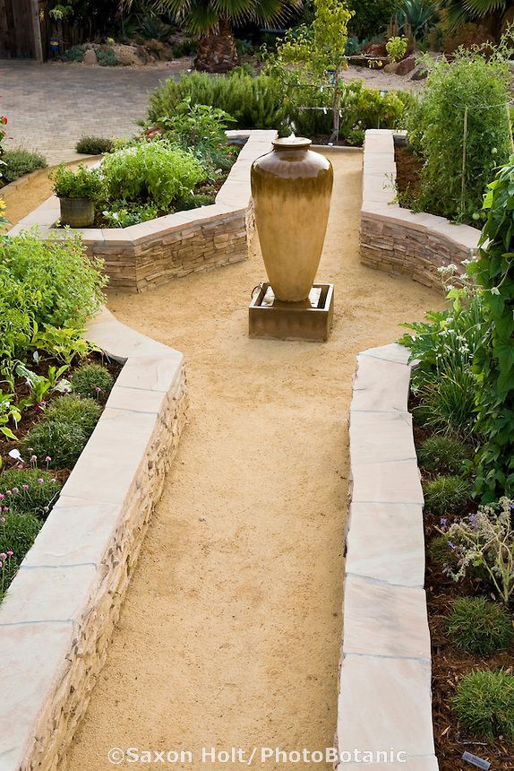 Stone Raised Bed Vegetable Beds In California Front Yard Garden, With  Crushed Rock Path And
