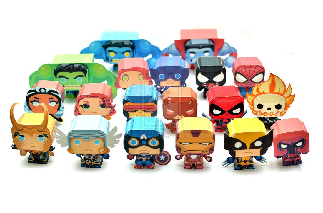 Mini Marvel Papercraft Download And Print Free Colored
