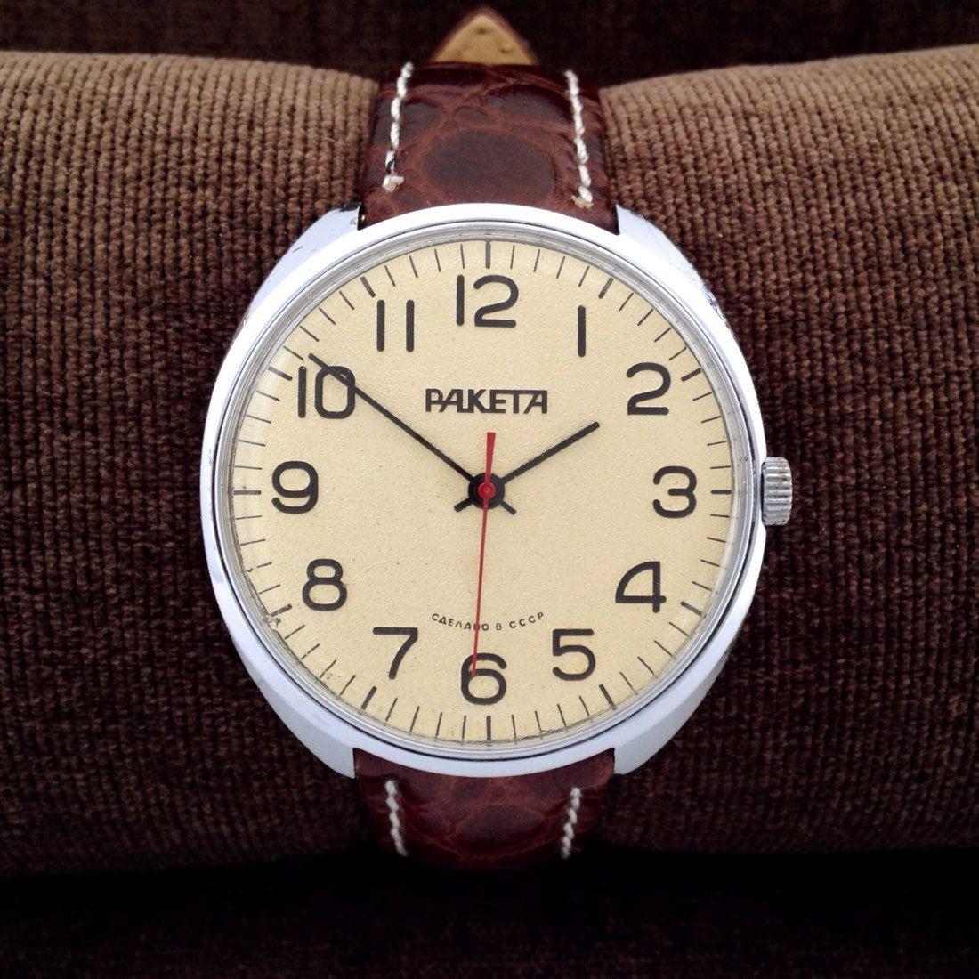 poljot flight mens soviet chunky watch from 70s custom made raketa oversized chunky soviet mens pilot style dress watch ussr watch mens watch