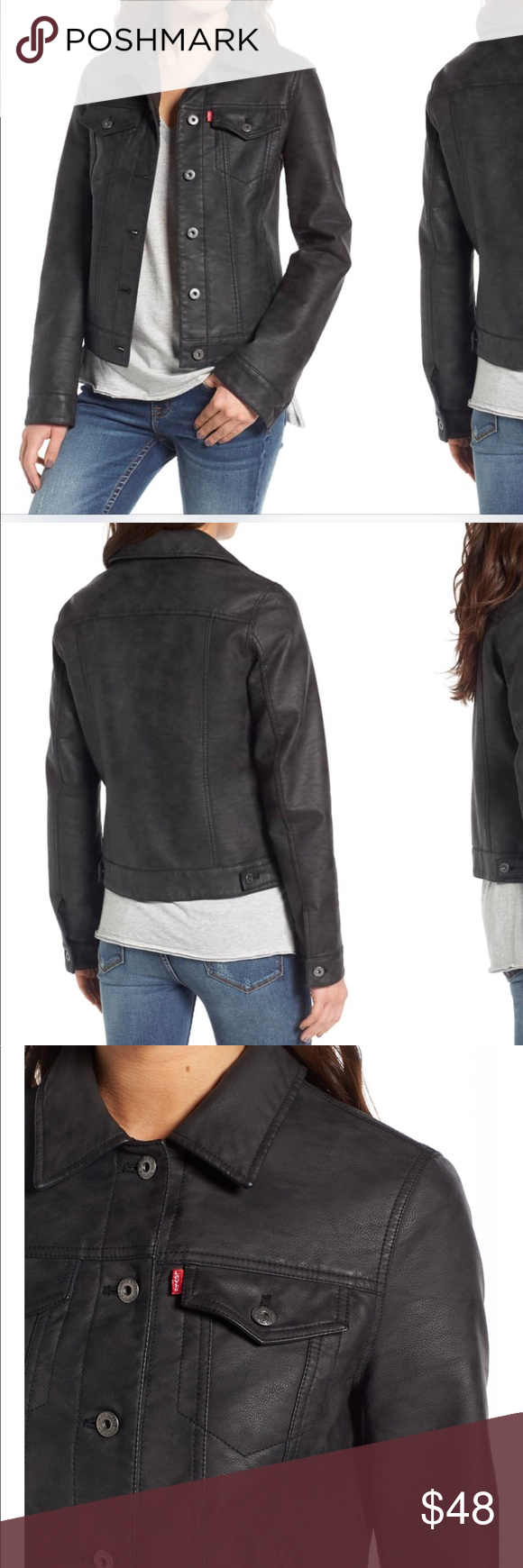 Levi's Women's Black Faux Leather Trucker Jacket Trucker