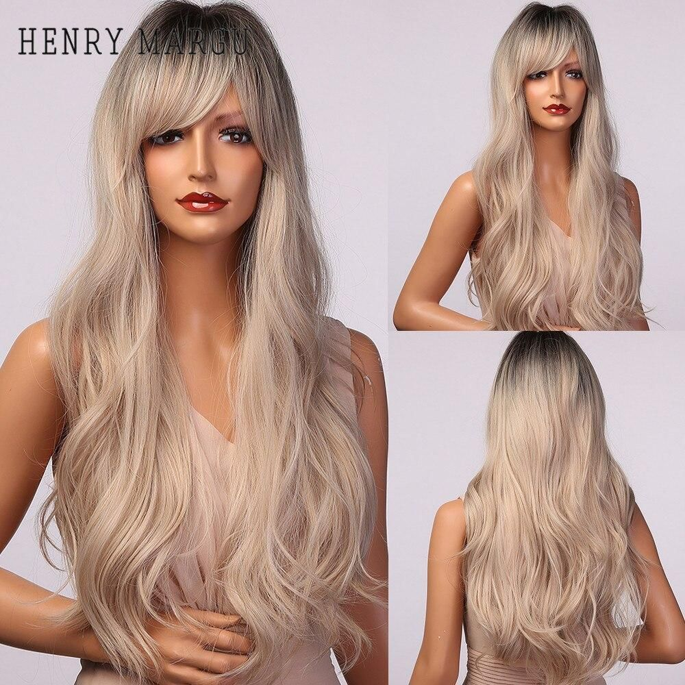 Photo of HENRY MARGU Ombre Brown Blonde Wig Long Deep Wavy Synthetic Wig with Bangs for Women Cosplay Party Heat Resistant False Hair – lc5070 / China