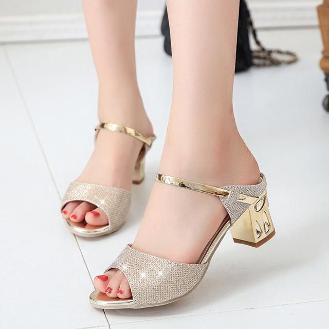 c70eb7afc9acd LAKESHI Women Sandals Sexy High Heels Women Heel Sandals Gold Silver Summer  Ladies Sandals 2018 New Thin Heels Shoes Female  SandalsHeels