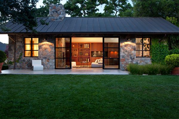 Sonoma Cottage House Exterior Stone Faade Metal Roof Modern