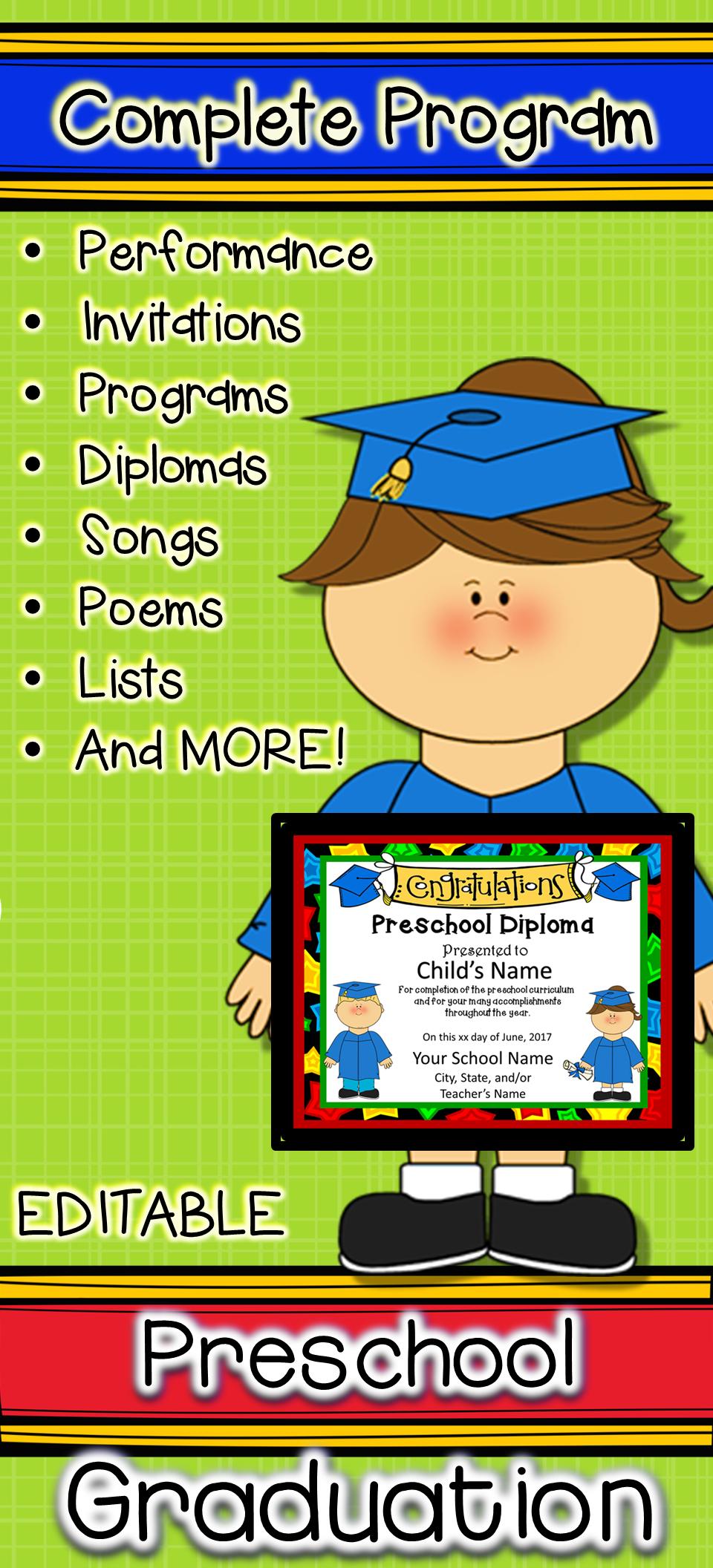Complete Kindergarten graduation program with diplomas, certificates ...