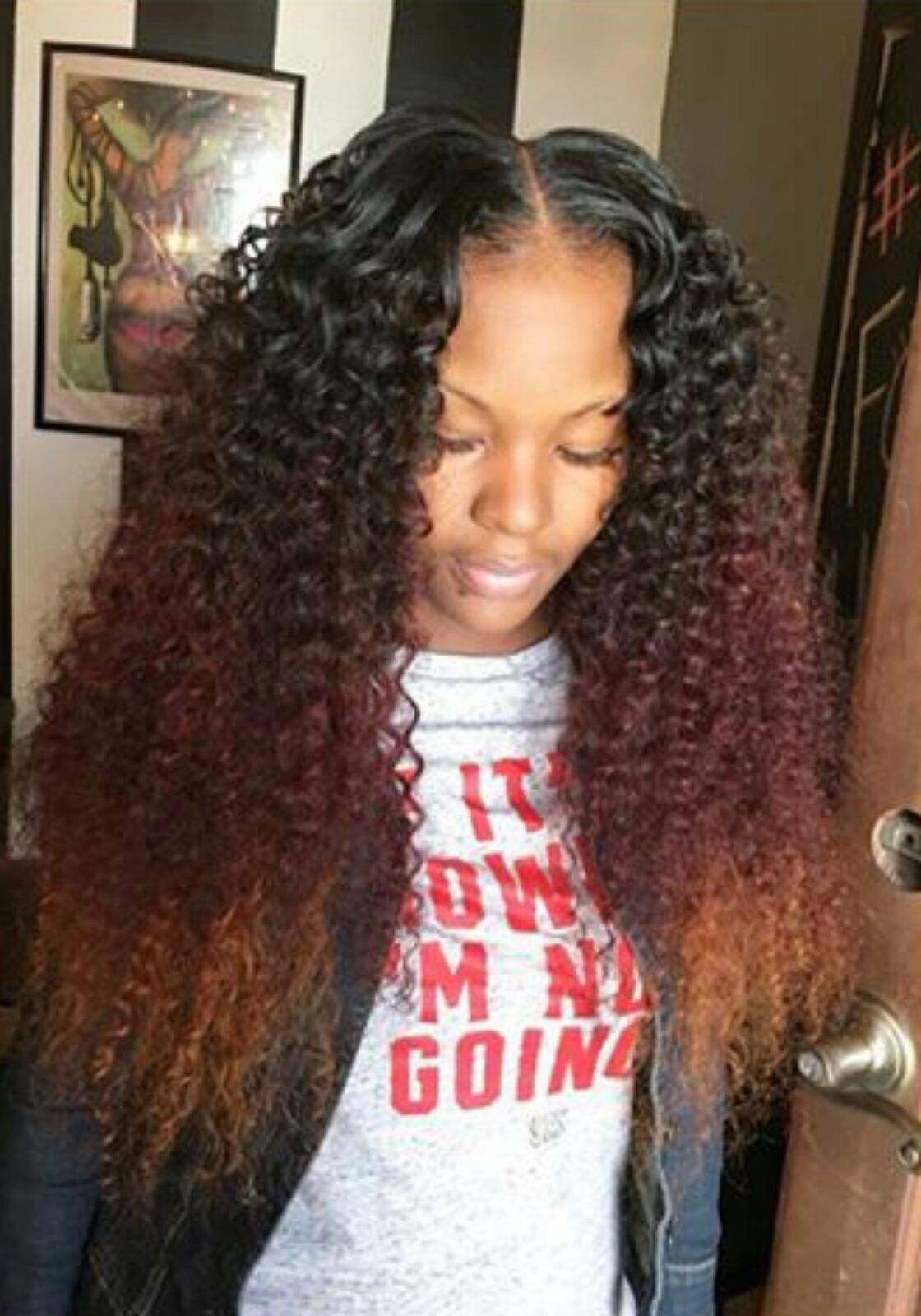 Curly Ombre Middle Part Sewin Hair Styles Weave Hairstyles Curly Weave Hairstyles