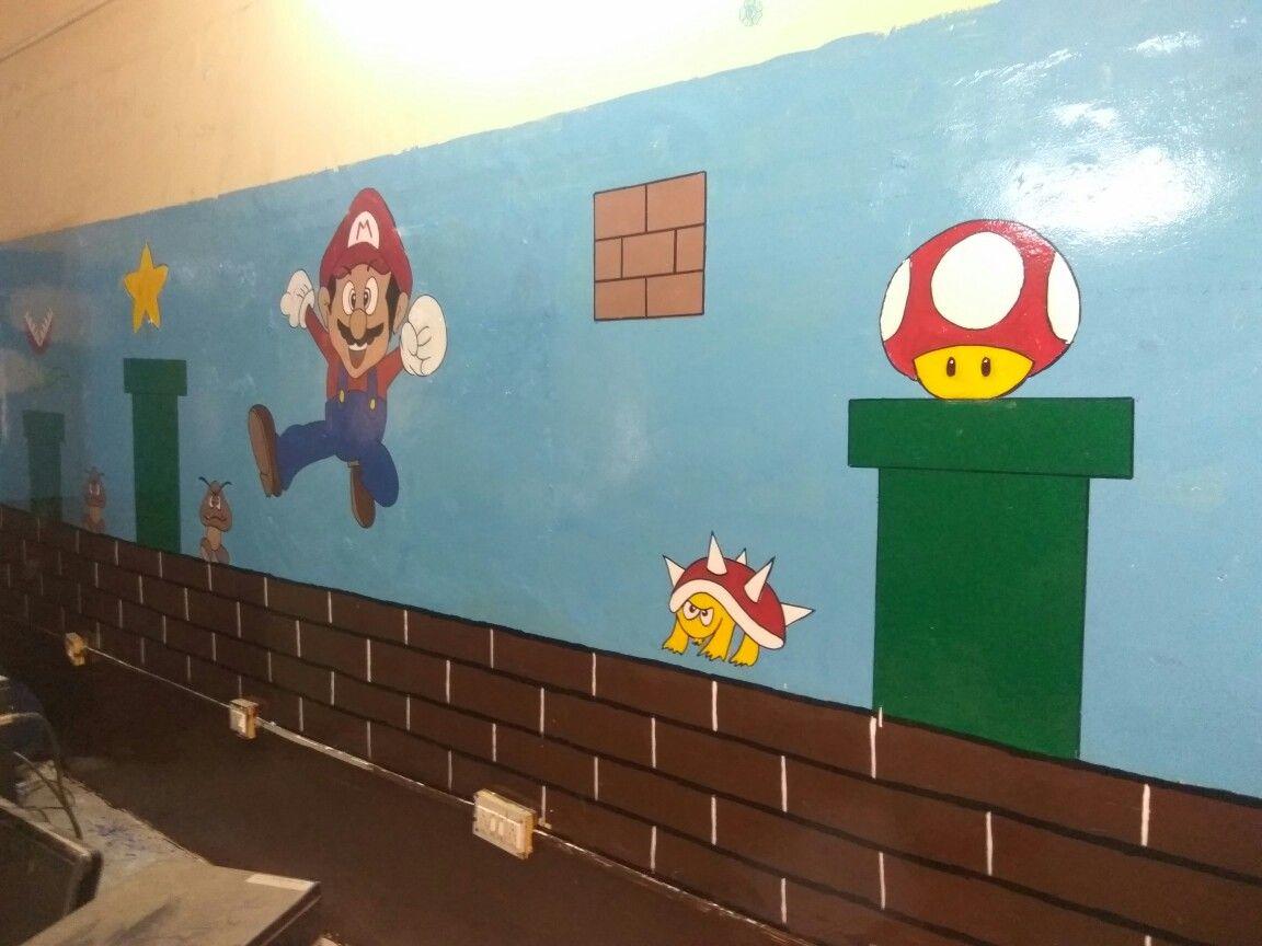 Computer room wall design super Mario theme kids classroom wall