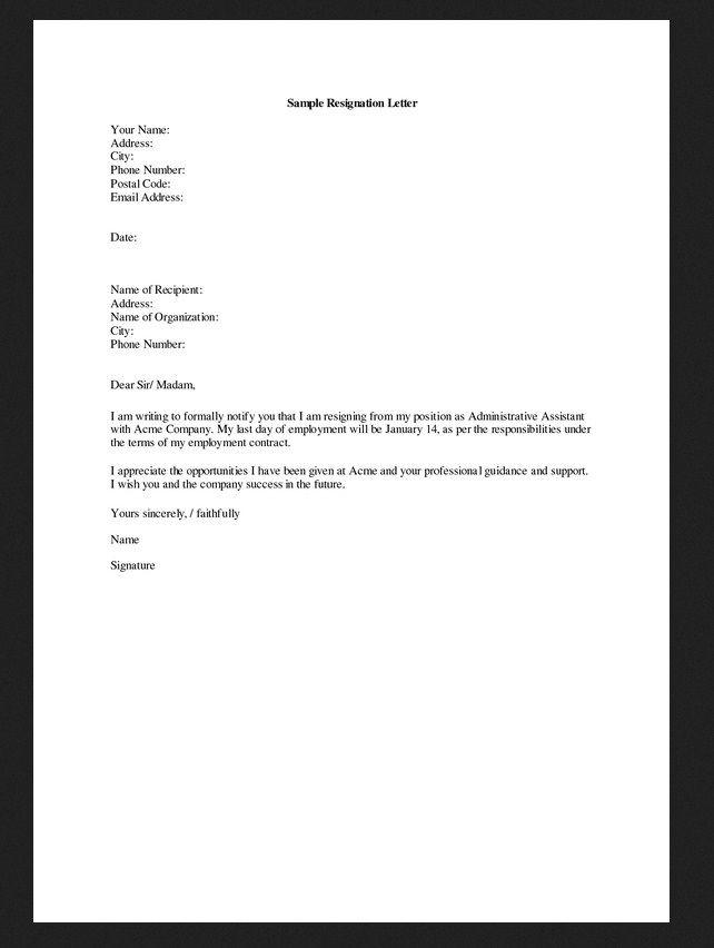 Example Resignation Letter  Preksha Patel