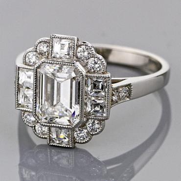 art deco emerald cut engagement ringsart - Art Deco Wedding Rings