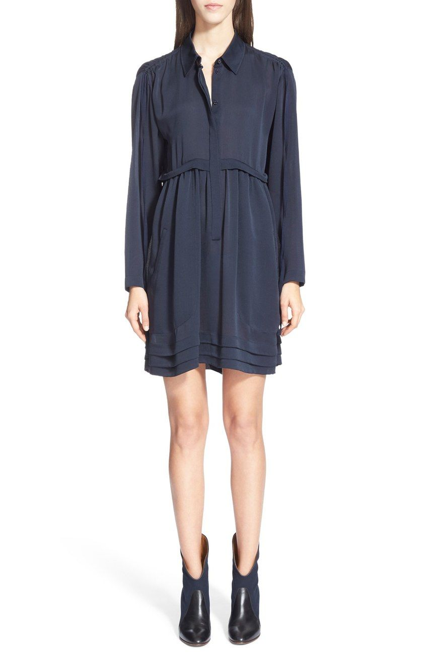 Currently swooning over this navy Chloe dress that looks gorgeous paired  with booties. Soft gathers 73922b44d