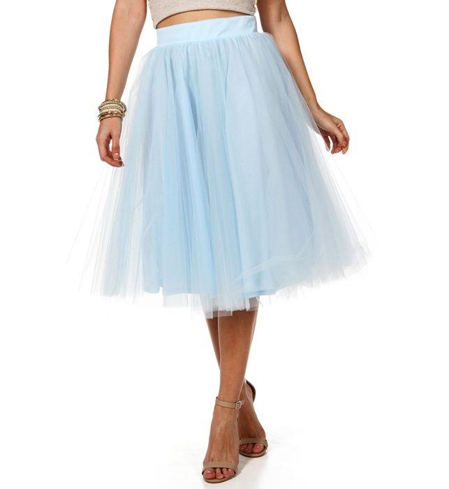 Light Blue Tulle Midi Skirt | Special occasions | Pinterest | Full skirts