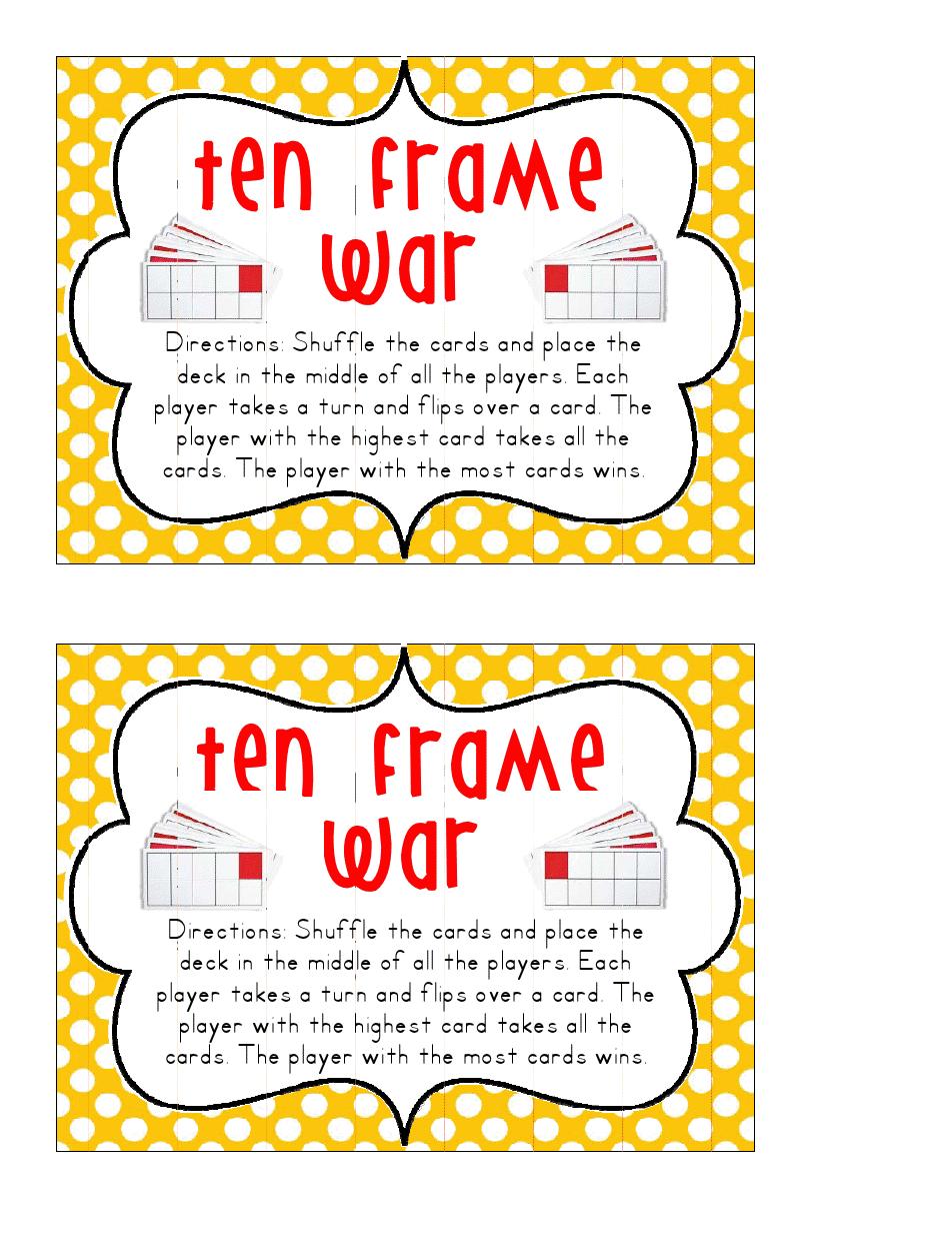 Ten Frame War.pdf Elementary math, Math genius