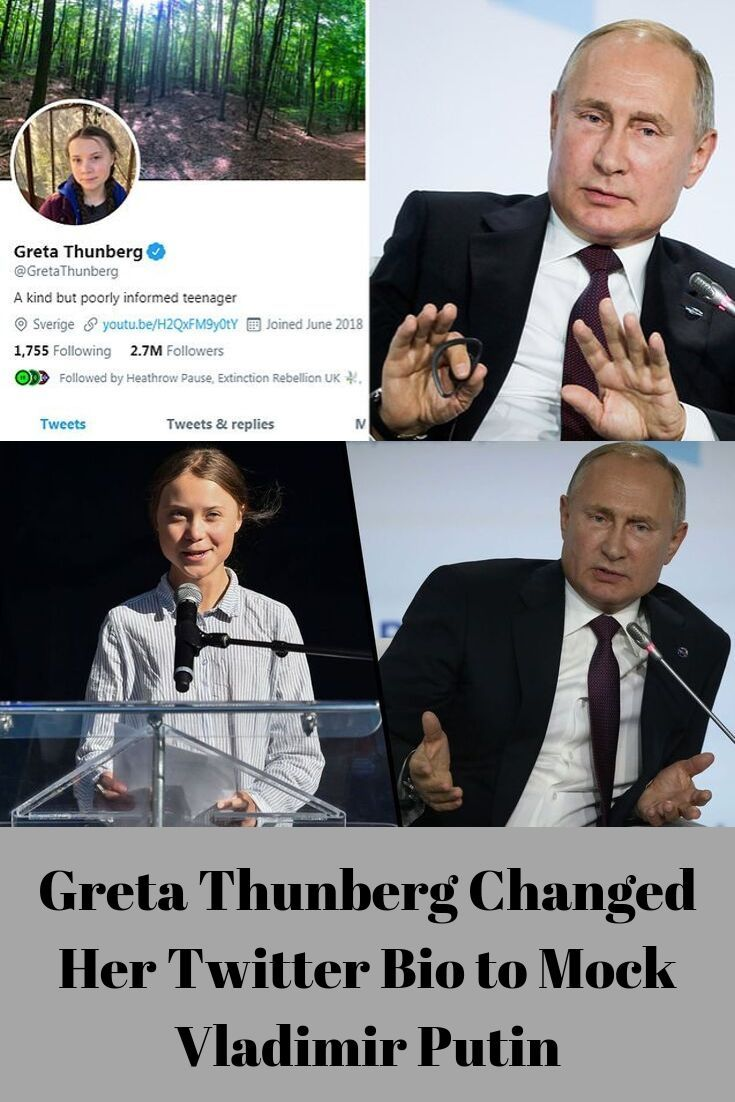 Greta Thunberg Changed Her Twitter Bio To Mock Vladimir Putin Fast Food Twitter Bio Fun Facts Health Fitness Cat
