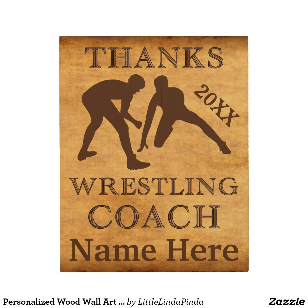 Personalized wood wall art wrestling coach gifts wrestling
