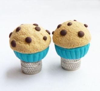 Cupcake Valve Caps in Blue
