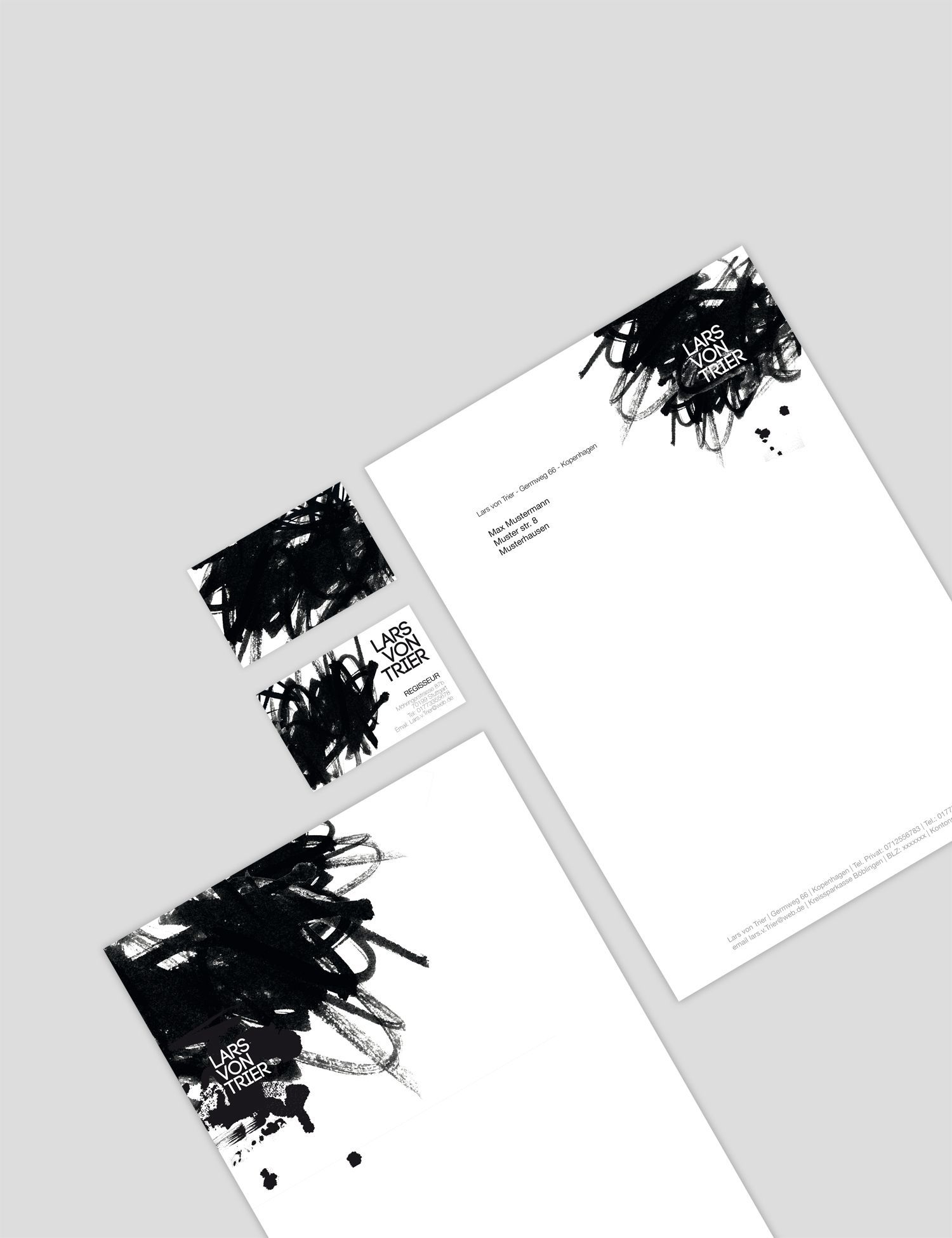create your own business solutions modern letterhead and business cards black and white