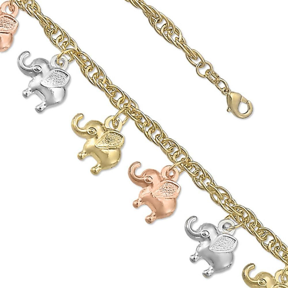 """Tricolor Dangling Dainty Elephants 7.5"""" Bracelet 14k yellow gold Rose Gold White Gold over Brass Cable Link Bracelet Ladies Charm Gift"""