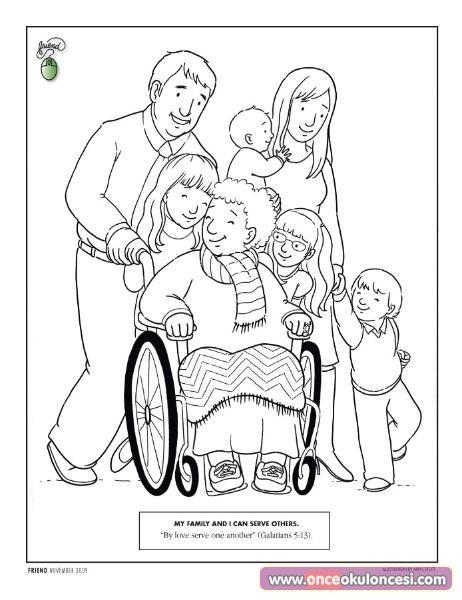 Ailemi seviyorum konulu boyama sayfaları (sevgi kavramı