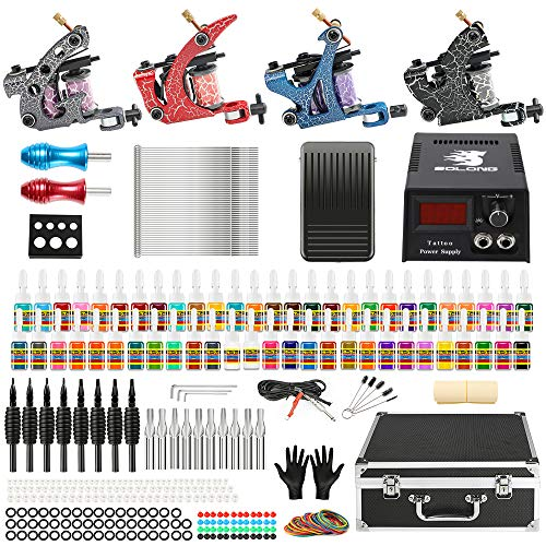 Solong Complete Tattoo Kit 4 Pro Machine Guns 54 Inks Power Supply Foot Pedal Needles Grips Tips Carry Tattoo Kits Professional Tattoo Kits Tattoo Machine Kits