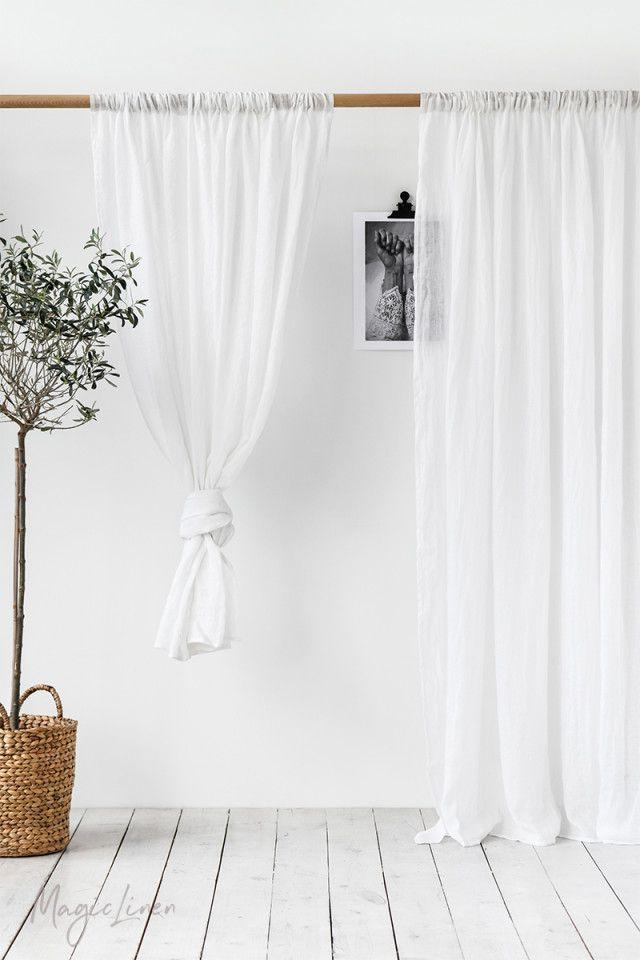 Sheer rod pocket linen curtain panel