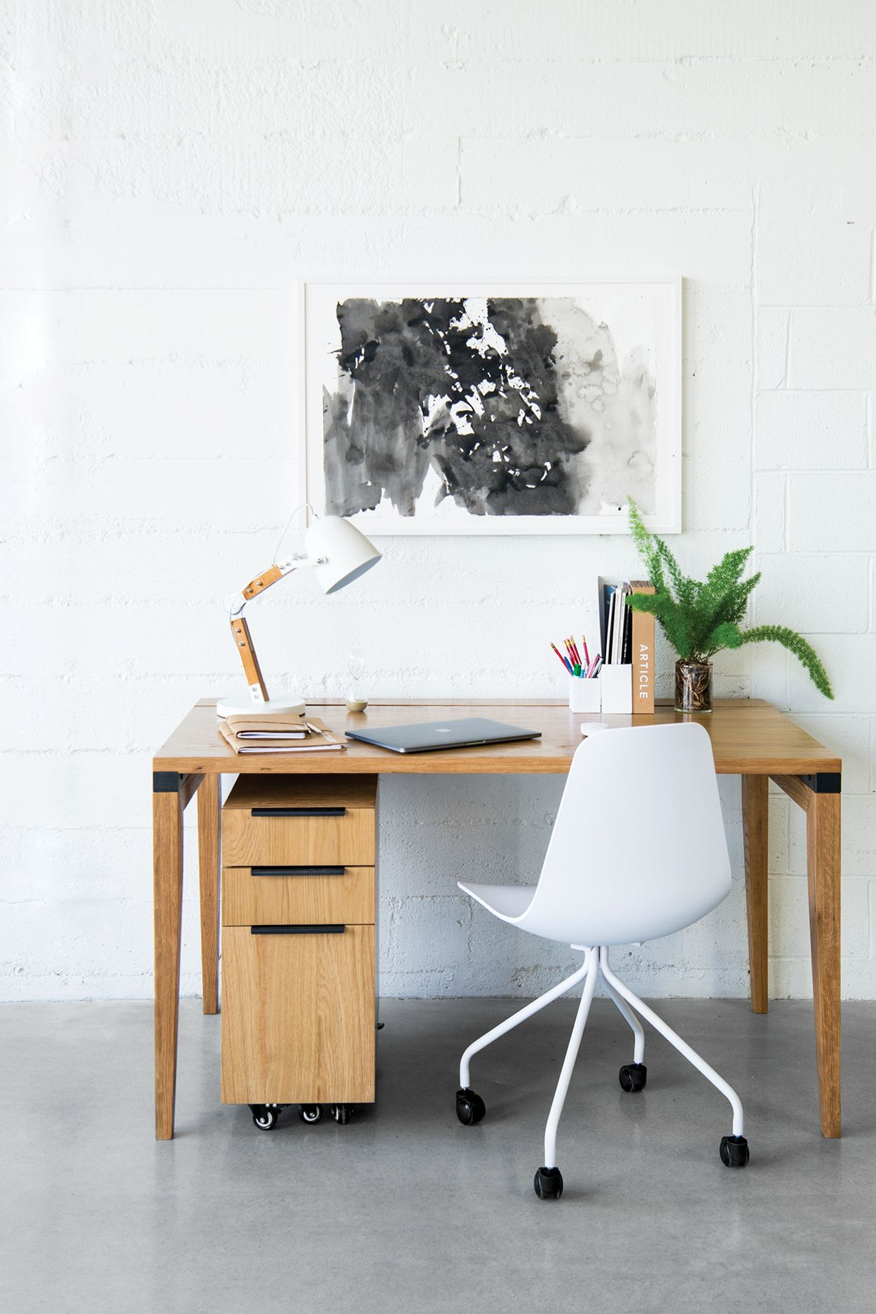 Madera Oak 54 Desk White Oak Desk Mid Century Modern Desk Desk
