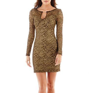 jcpenney.com | Bisou Bisou® Long-Sleeve Metallic Lace Sheath Dress