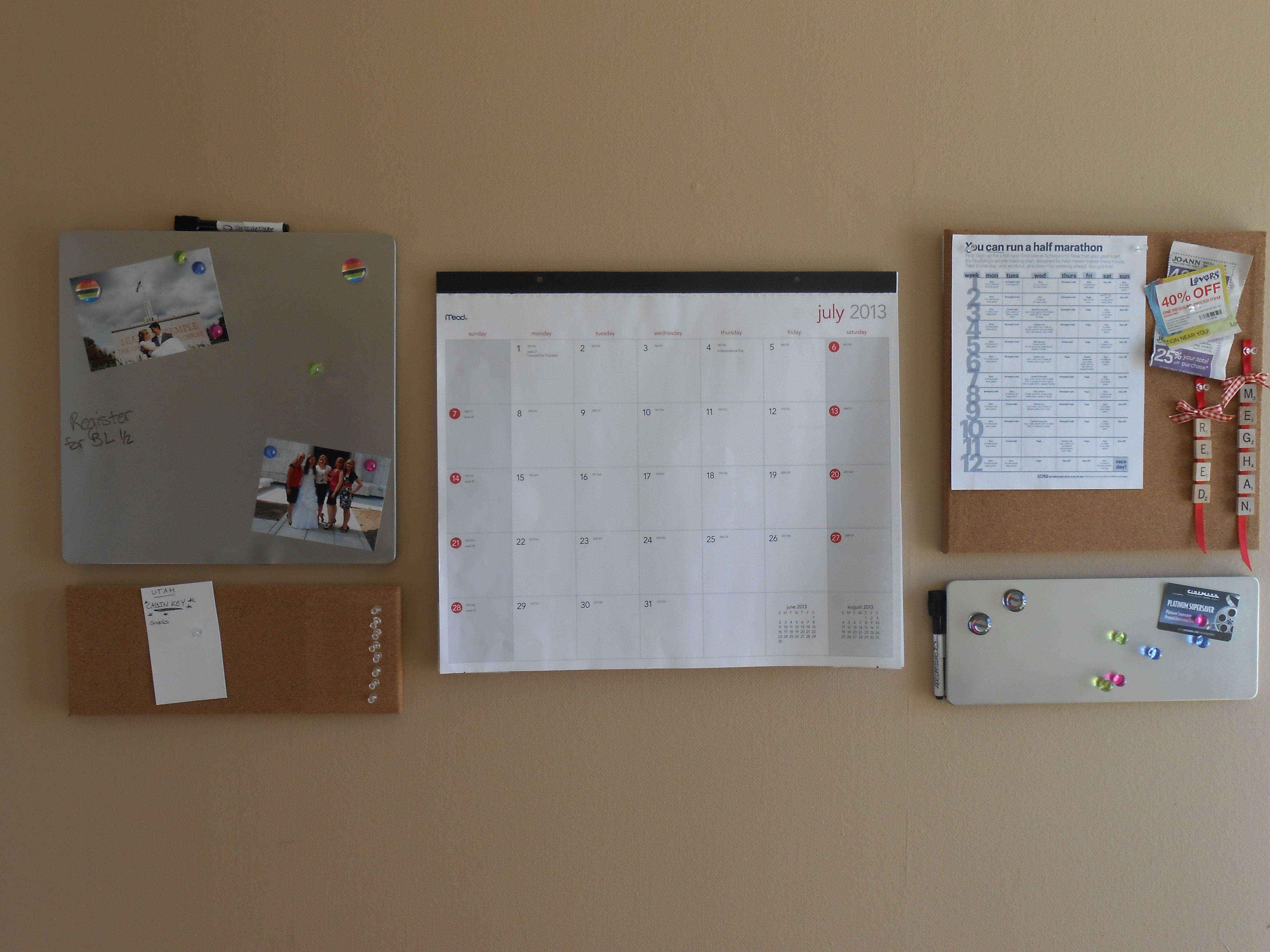 30 Command Center Quartet Modular Boards And A Desk Calendar Hang On Walls Using Command Strips With Images Desk Calendars Command Center Command Strips