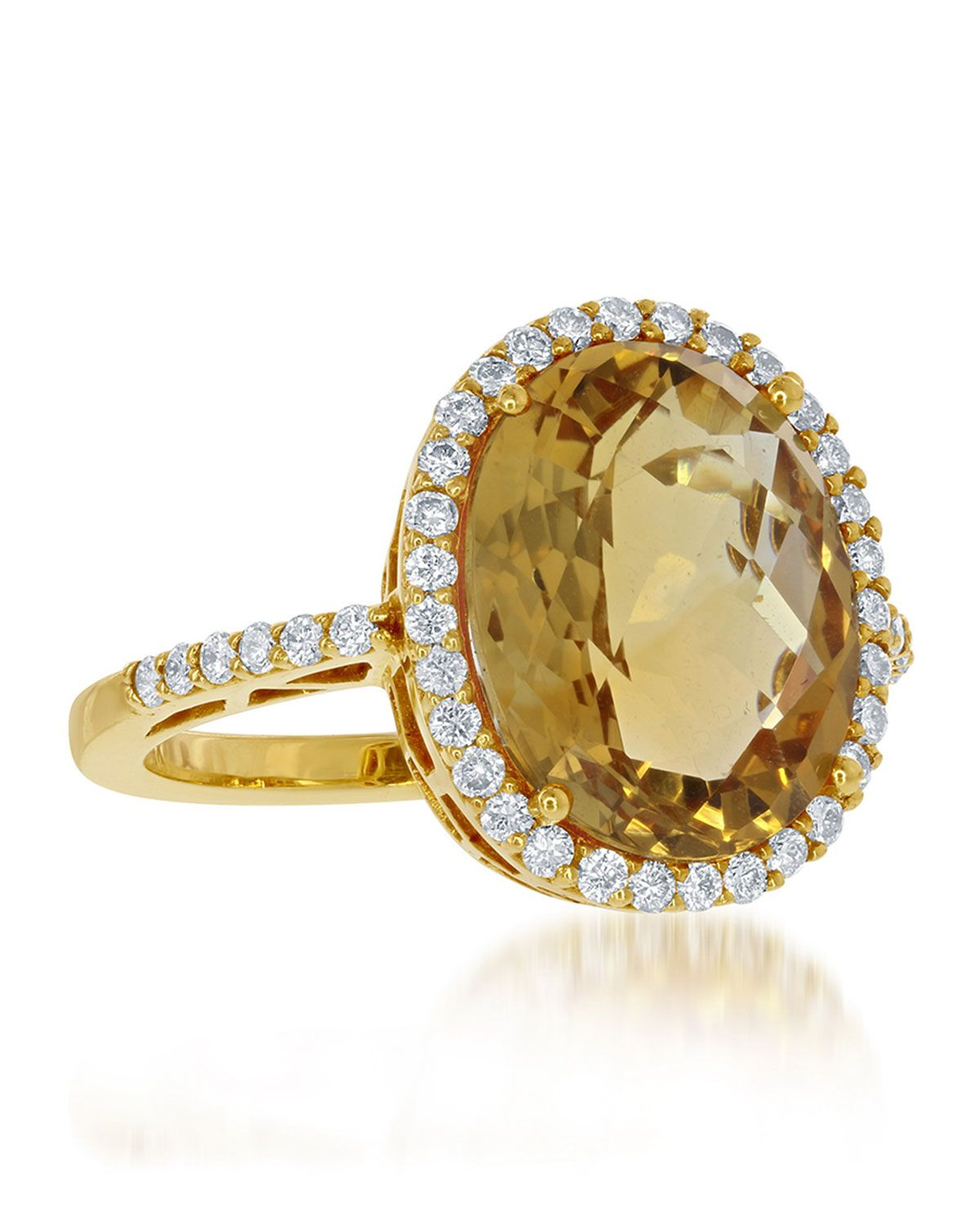 Diana M. Jewels 14k Yellow Gold Oval Citrine & Diamond Ring, Size 7