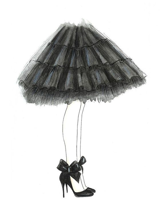 Watercolor Black Tulle Skirt and Bow Shoes Fashion Illustration- Black and White Fashion Bedroom Print- Teen Room Wall Art