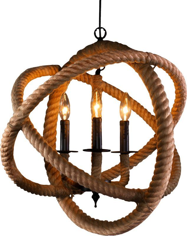 Genevie 3 Light Candle Style Globe Chandelier With Rope Accents Warehouse Of Tiffany Globe Chandelier Candle Chandelier