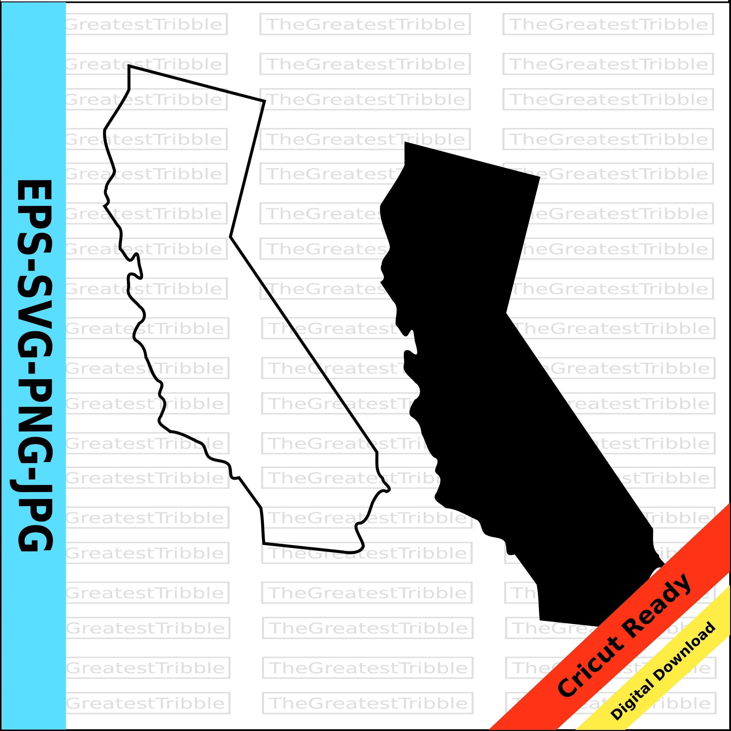 California State Map Svg Png Jpg Eps Vector California Etsy In 2021 California State Outline Us State Map Clip Art