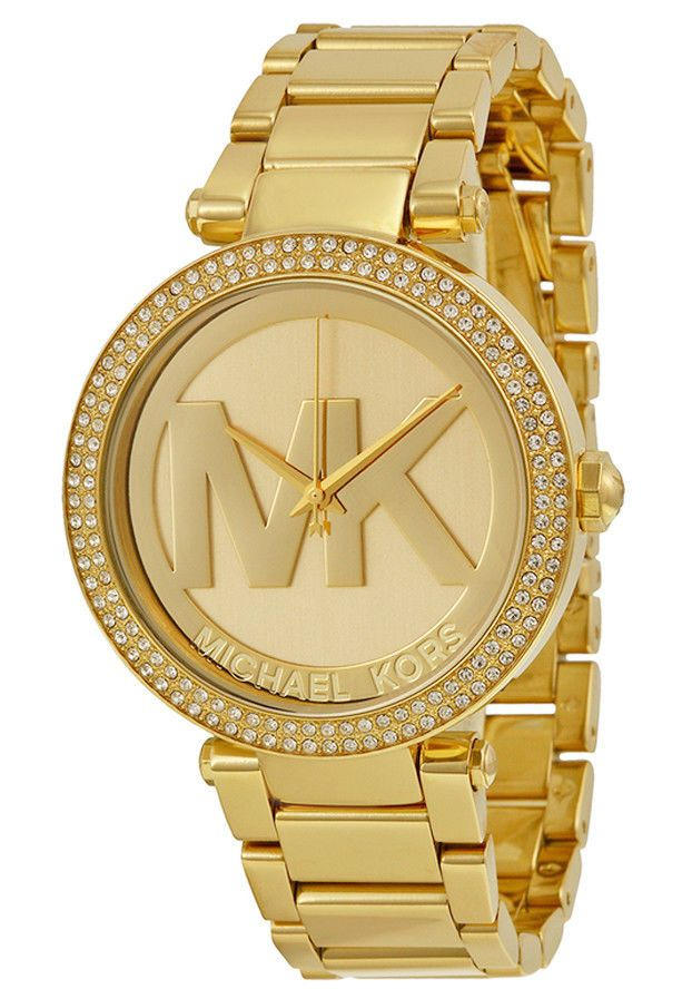 754358c41ac0 Michael Kors Parker Logo Glitz Gold Tone Dial Ladies Watch MK5784 Stainless…