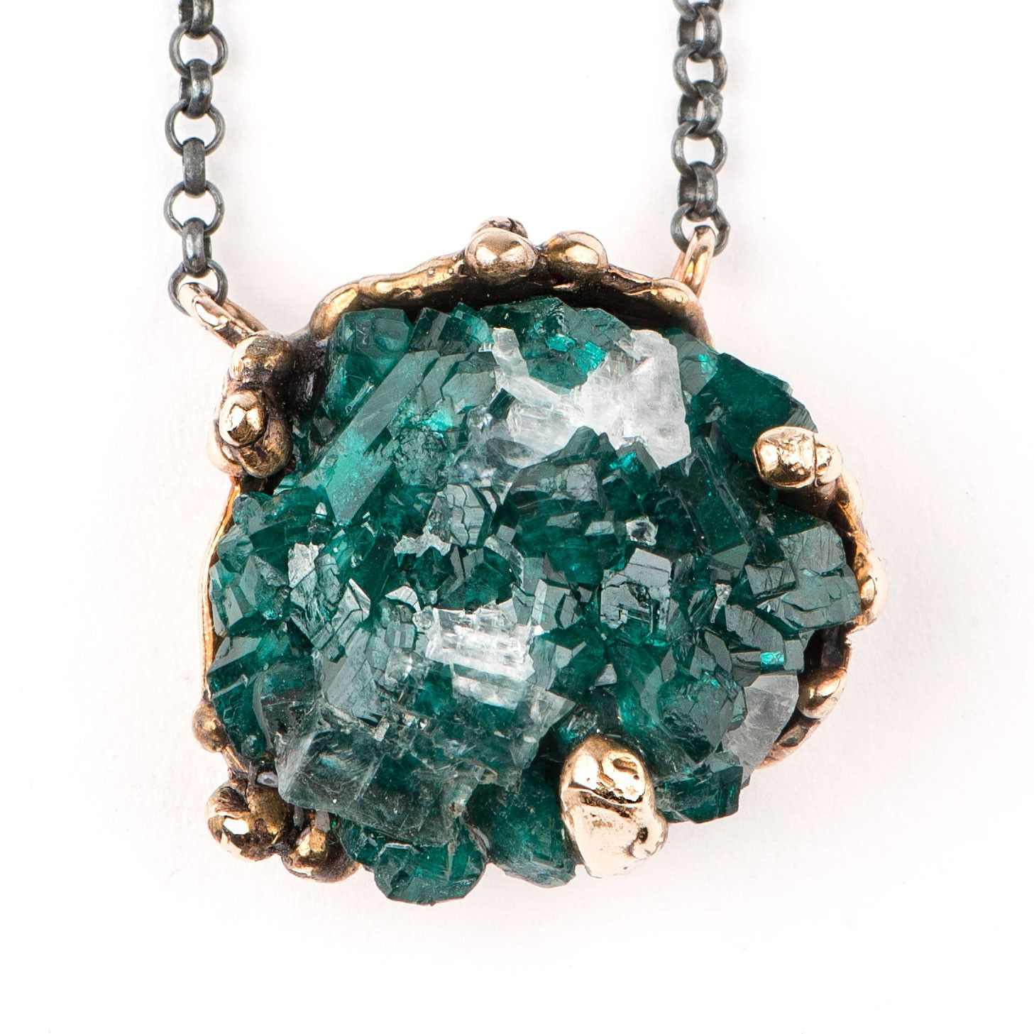 Druzy rough dioptase crystal necklace with silver chain one of a druzy rough dioptase crystal necklace with silver chain one of a kind for men and women aloadofball Gallery