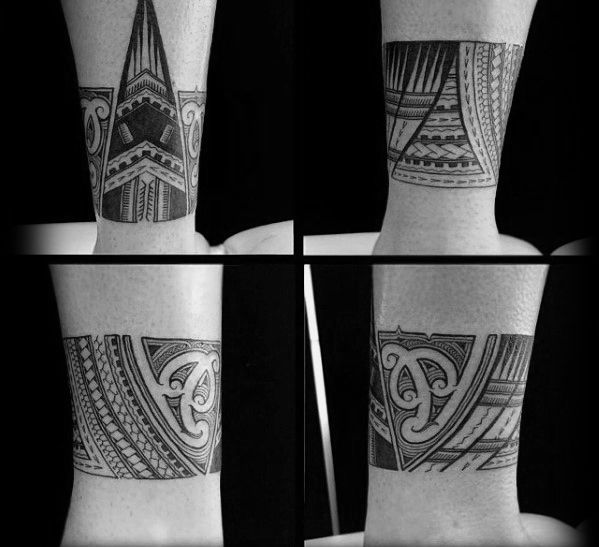 Cool Male Ankle Polynesian Tribal Band Tattoo Designs