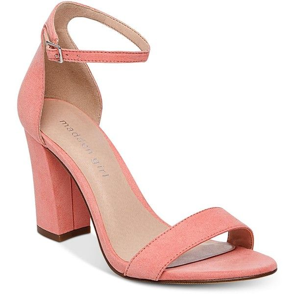 eaa43e199d Madden Girl Bella Two-Piece Block Heel Sandals ($49) ❤ liked on Polyvore  featuring shoes, sandals, coral, block-heel sandals, special occasion  shoes, block ...
