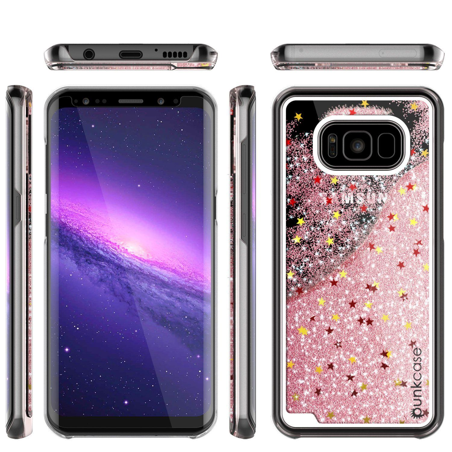 Galaxy S8 Case Punkcase Liquid Rose Gold Series Protective Dual Layer Floating Glitter Cover Galaxy Galaxy S8 Dual Layer