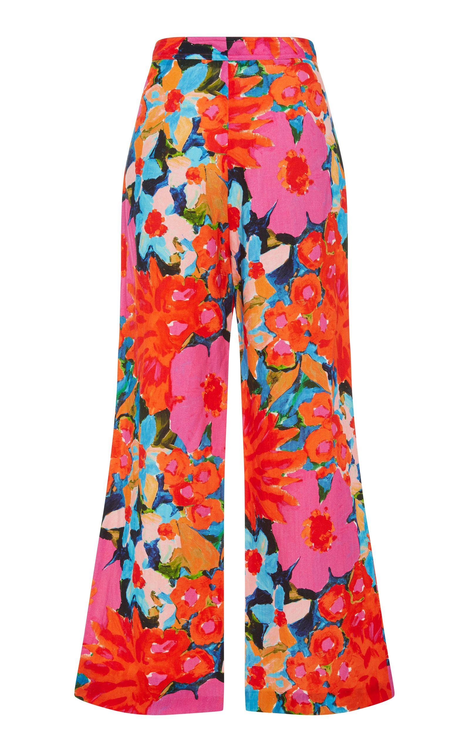 Arlene Floral-Print Cropped Flared Pants Mara Hoffman NLPlu