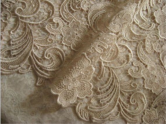 Champagne Lace Fabric Crochet Lace Fabric Bridal Lace by lacetime