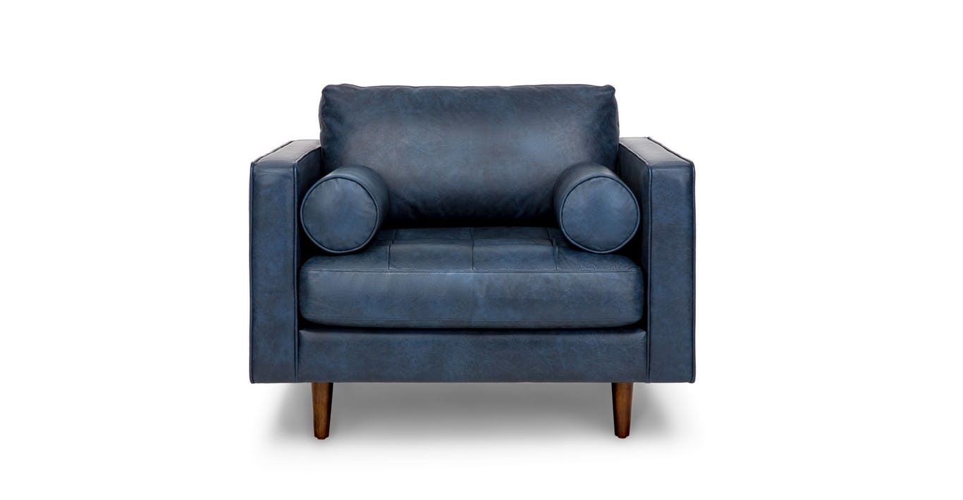 Blue Leather Chair, Tufted Seat With Bolsters | Article Sven Modern  Furniture. Sven Oxford Blue Chair