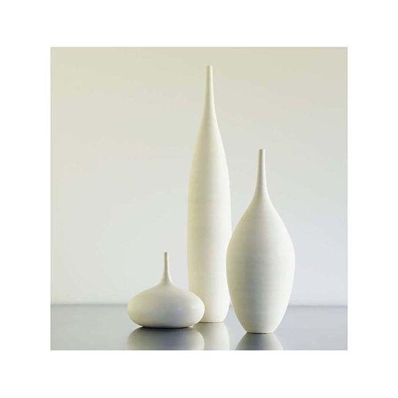3 large white modern ceramic bottle vases in modern white matte sara paloma mid century