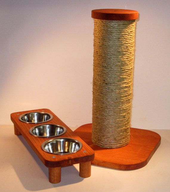 3 bowl pet feeding station  15 sisal rope by MrFinnsScratchPost