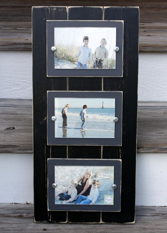 Triple 4 x 6 Frame Black & Grey Wood Distressed Coastal Cottage ...